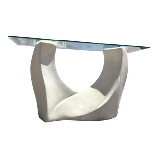 Vintage Sculptural Plaster Sofa Console Table W/ Bevel Glass Top For Sale