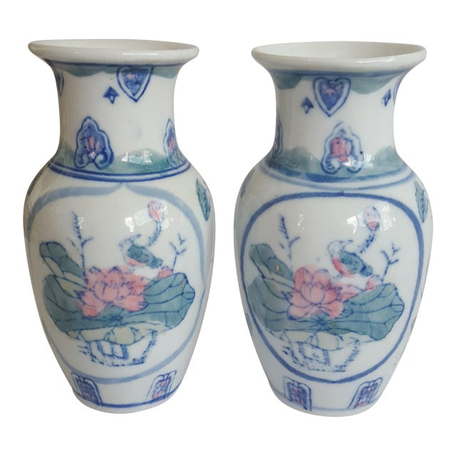 Vintage Chinoiserie Pink And Green Handpainted Porcelain Vases A