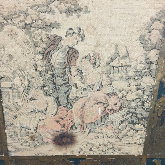 Antique Tapestry Fire Screen For Sale In Los Angeles - Image 6 of 7