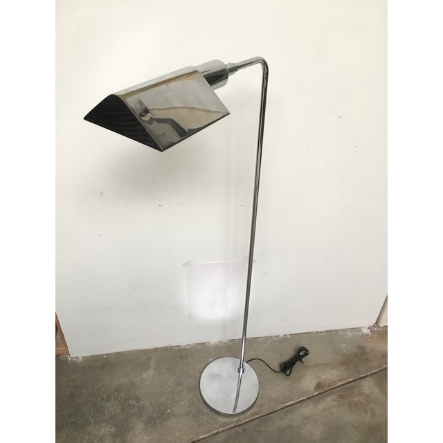 Fantastic original chrome tent shade reading lamp (also known as a pharmacy lamp) by Koch and Lowy. Wiring has been...