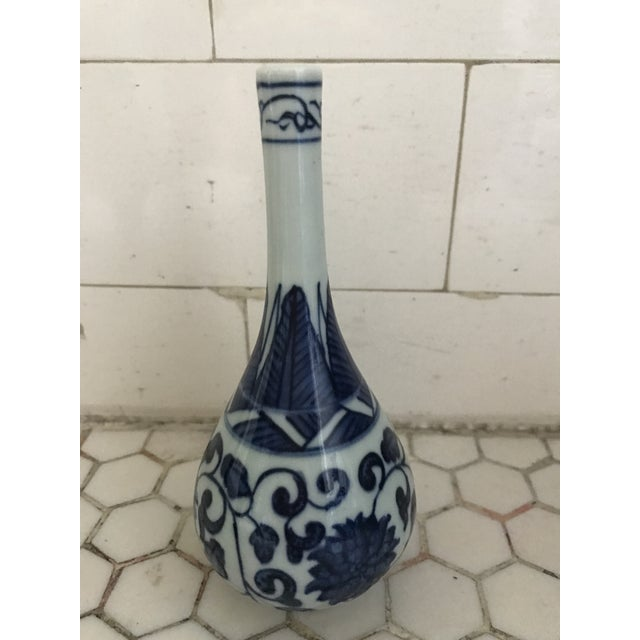Blue Blue & White Porcelain Vases - Set of 3 For Sale - Image 8 of 9