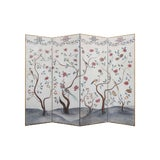 Image of Vintage Mid-Century 4-Panel Medieval Style Tree and Flower Patterned Screen Painting For Sale