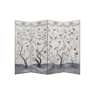 Vintage Mid-Century 4-Panel Medieval Style Tree and Flower Patterned Screen Painting For Sale
