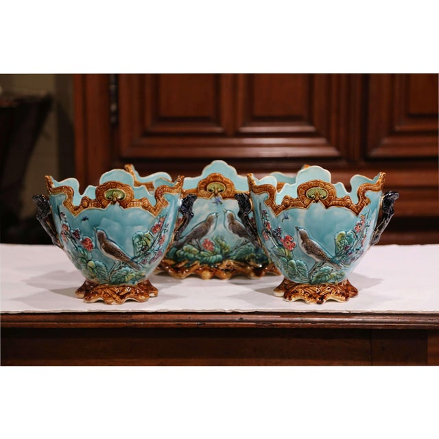 19th Century French Hand Painted Barbotine Cachepots With Bird and Flower Decor For Sale - Image 10 of 13
