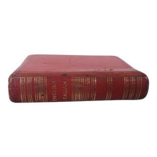 1940s Red Leather English Italian Dictionary For Sale
