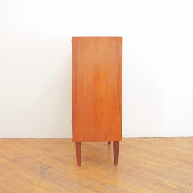 Mid-Century Modern Vintage Danish Teak Highboy Dresser For Sale - Image 3 of 12