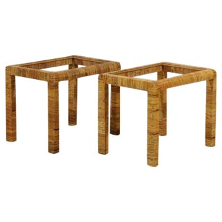 Stylish Pair of Vintage Rattan Parsons End Tables For Sale
