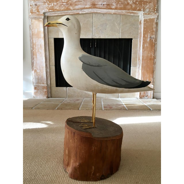 Wooden Seagull Mounted on Pedestal For Sale - Image 5 of 8