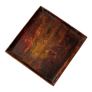 Antique Chinese Painted Wood Tray