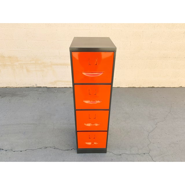 Metal 1960s Steel File Cabinet With Pressed Handles, Refinished For Sale - Image 7 of 7