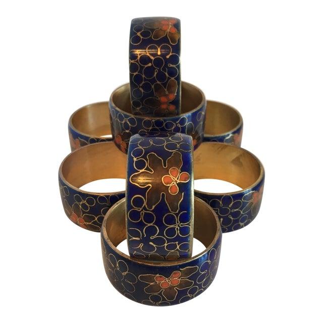 Blue Cloisonné Napkin Rings - Set of 8 - Image 1 of 8