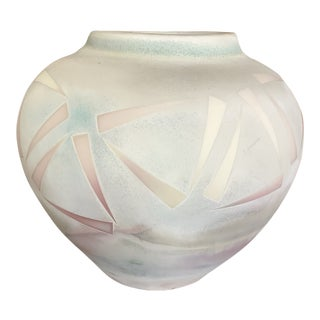 Large Contemporary Pastel Handmade Stoneware Pot For Sale