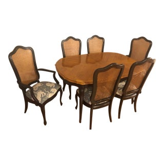 Late 20th Century Thomasville Tableau Collection French Provincial Dining Table & Cane Back Chairs Set For Sale