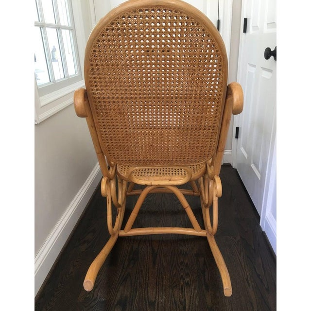 Boho Chic Mid-Century Boho Chic Bentwood Bamboo Rocking Chair For Sale - Image 3 of 10