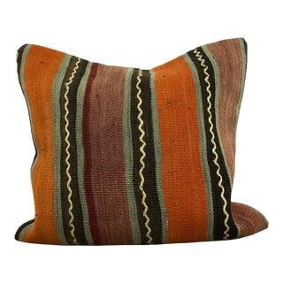 Vintage Turkish Stripe Tribal Decor Kilim Pillow Cover For Sale