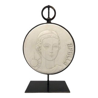 Apollo Bas Plaster Relief With Custom Stand For Sale