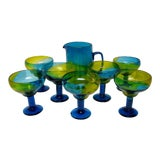 Image of Colorful Glass Margarita Set, 8 Pieces For Sale