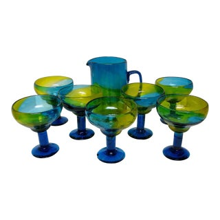 Mexican Glass Margarita Set, 8 Pieces For Sale