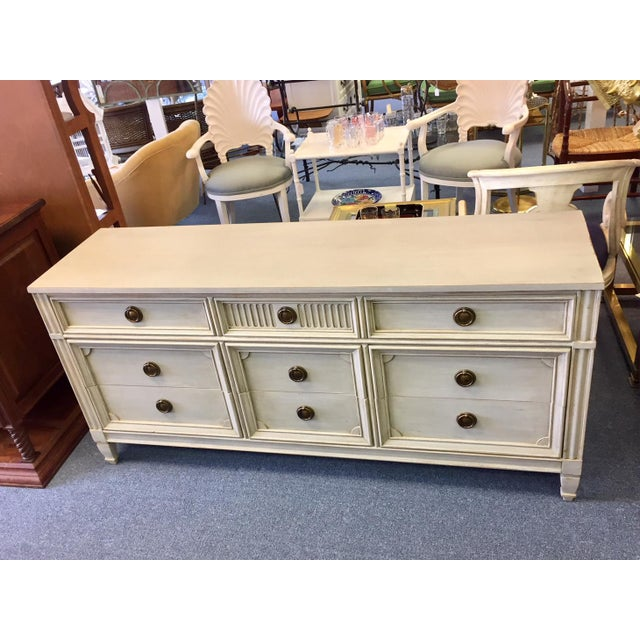 Gray Lowboy Dresser With Circular Brass Pulls For Sale - Image 10 of 10
