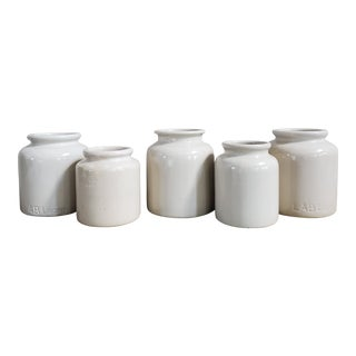 Vintage French Stoneware Mustard Crocks, 5 Piece- Set of 5 For Sale