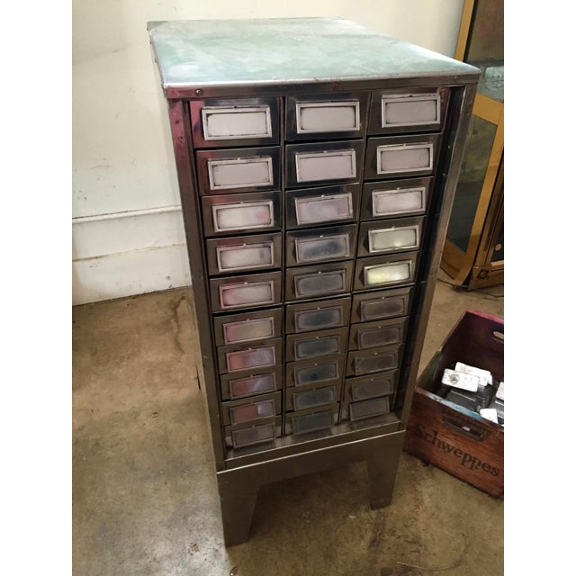 Vintage Mid-Century Metal Library Cabinet For Sale - Image 4 of 11
