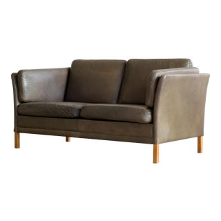 Borge Mogensen Style Danish Loveseat in Dark Olive Leather by Georg Thams