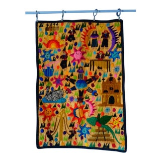 Guatelmalan Embroidered Wall Hanging For Sale
