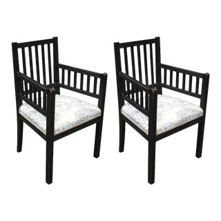 Pair of Slatted Painted Armchairs With Upholstered Seat For Sale