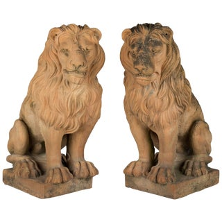 Pair of Italian Terracotta Lions For Sale