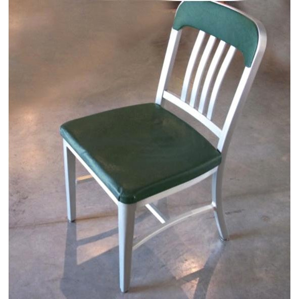 1950s Vintage GoodForm Aluminum Chairs Green Leather For Sale - Image 5 of 9