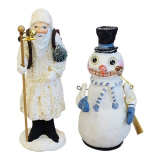Christmas Holiday Santa & Snowman Figurines, Set of Two For Sale