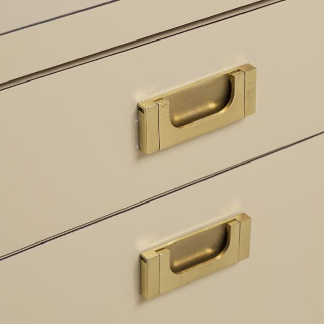 Pace Attributed Pedestal Based Brass and Ivory Mica Wrapped Desk, 1970s For Sale - Image 6 of 8