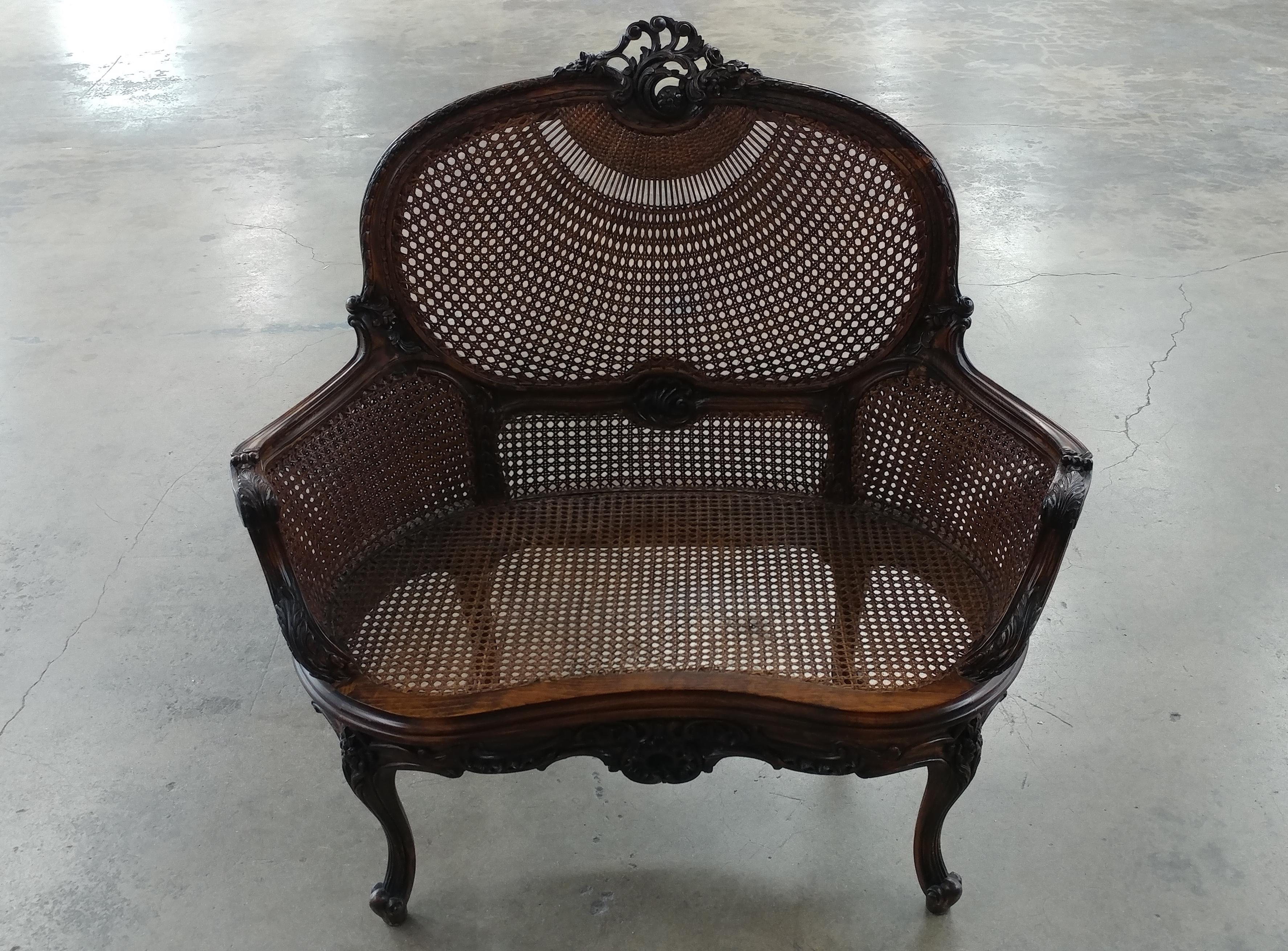 Beautiful French Louis XVI Carved Cane Corbeille Settee Chair   Image 2 Of 8