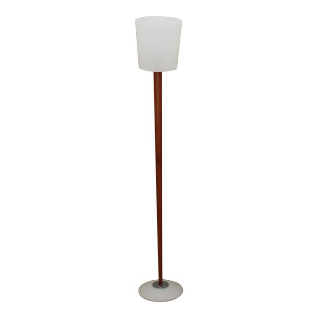 Vetri Murano White Glass Teak Wood Floor Lamp Chairish