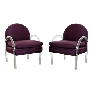 Mid Century Modern Pair Pace Lucite Armchairs Charles Hollis Jones Style 1970s For Sale