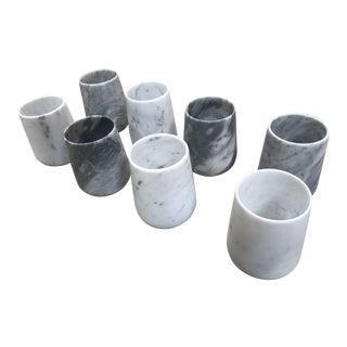 Carrara Marble Cups - Set of 8 For Sale