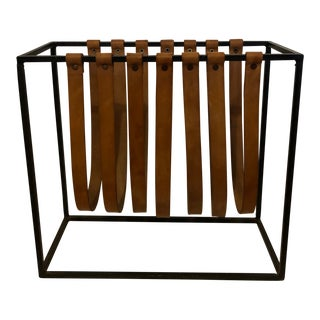 1950s Vintage Arthur Umanoff Wrought Iron Leather Strap Magazine Rack For Sale