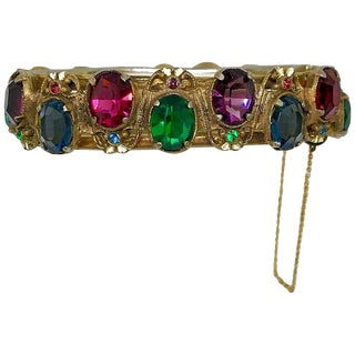 1930s Gold Tone Hinged Bangle Set With Bright Jewel Tone Faceted Stones For Sale