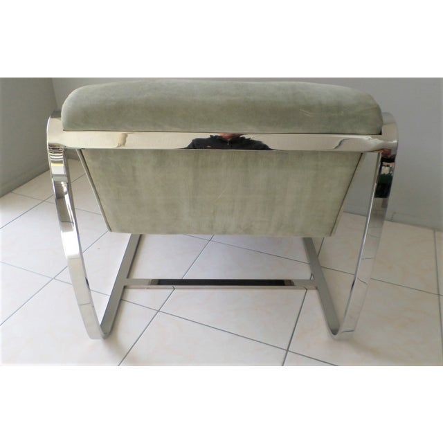 """1970s Brueton Cantilever """"Plaza"""" Chair in Polished Stainless Steel and Suede For Sale - Image 5 of 8"""