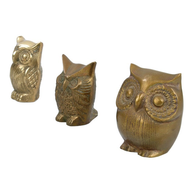 Brass Owl Figurines - Set of 3 - Image 3 of 6
