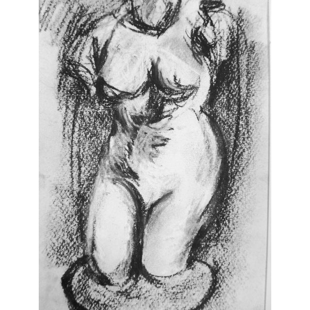 Hellenistic Statue Charcoal Drawing - Image 5 of 5