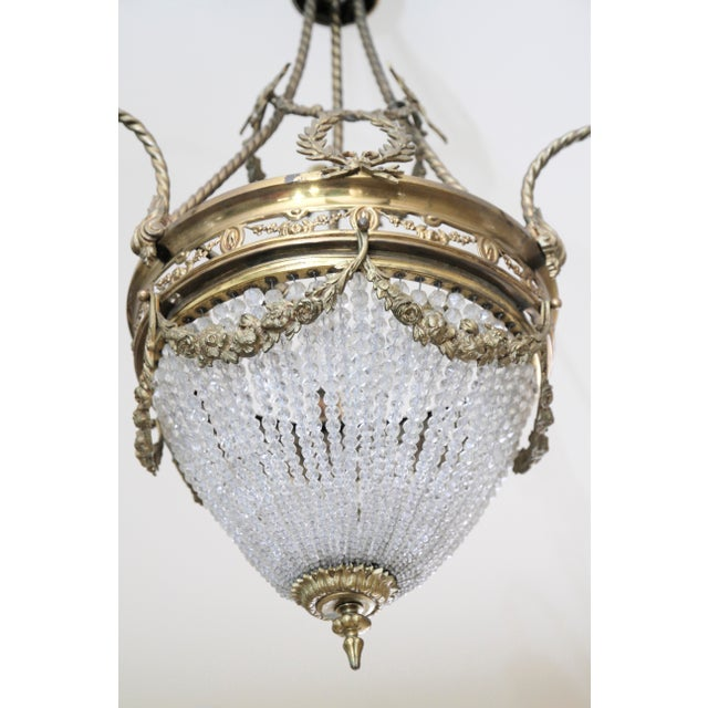 Gold French 19th Century Empire Style Half Circular Crystal & Bronze Chandelier For Sale - Image 8 of 11