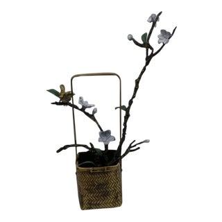 Love Bird and Jasmine Flower Bronze Vase Sculpture For Sale