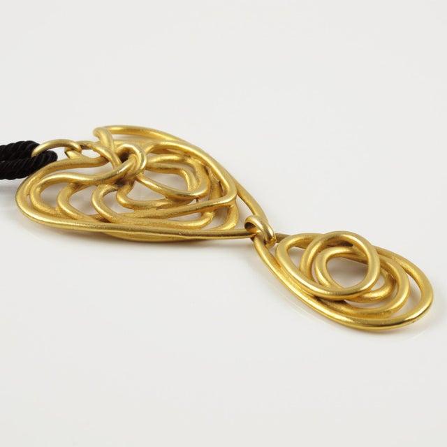 Balenciaga Balenciaga Paris Pendant Necklace Gilt Metal Wired Dangling Spiral For Sale - Image 4 of 8