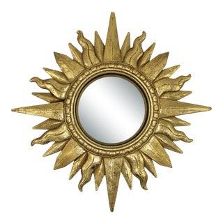 Hollywood Regency Golden Gilt Sunburst Mirror For Sale