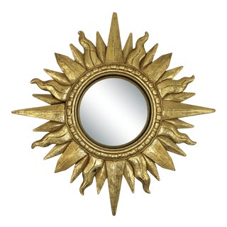 Hollywood Regency Style Golden Gilt Convex Sunburst Mirror For Sale