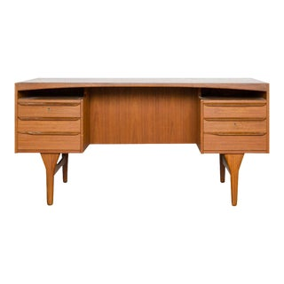 1960's Vald Mortensen for Odense Mobler Danish Modern Teak Partners Freestanding Desk