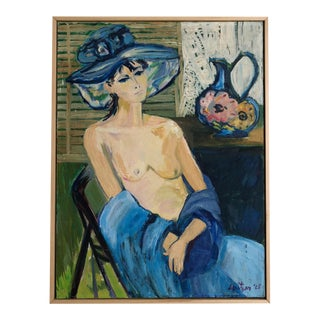 Vintage Mid-Century Blue Lady Painting For Sale