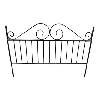 Heavy Wrought Iron Black King Size Bed Headboard For Sale