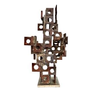 Mid-Century Brutalist Steel Sculpture For Sale